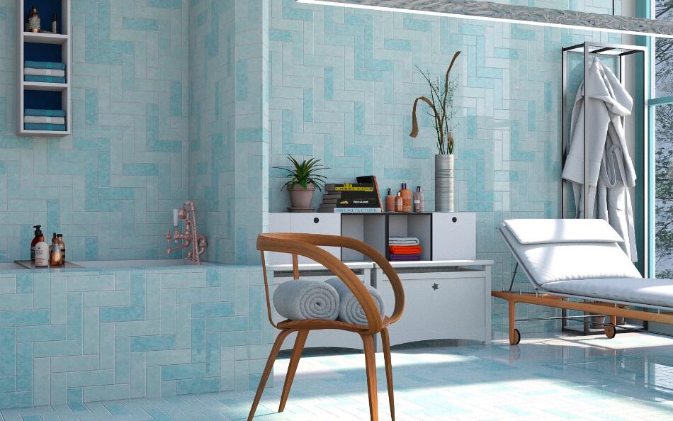 Afgewerkte, blauwe badkamer
